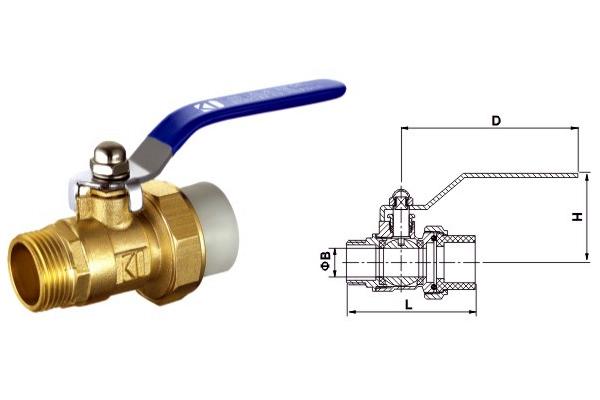 pp-r锻压铜本色球阀(单外丝)图片